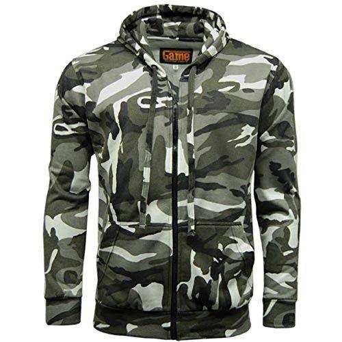Hommes Jeu de camouflage Camouflage en polaire Zip Pull à capuche pour homme Fermeture Éclair Haut pour camping chasse pêche – – Large:…