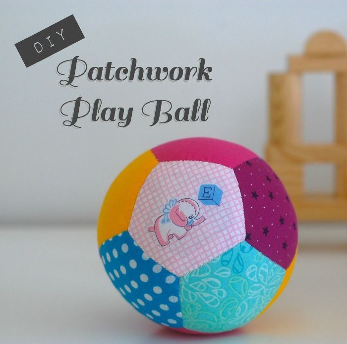 Such a cool and cute patchwork ball! with a rattle inside! link to template for pentagons included! :)