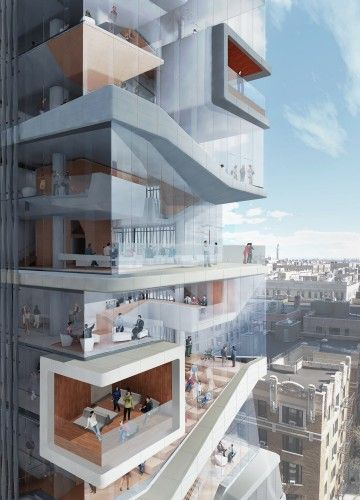Diller Scofidio + Renfro Unveils New Columbia University Medical Building - CUMC Rendering DD_SW_ELEVATED_CAFE