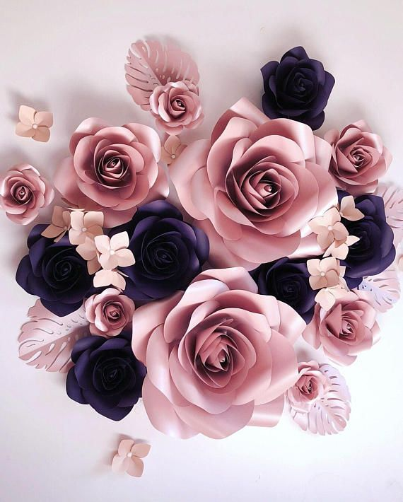 Beautiful handmade luxury paper flowers set. Ideal for photo back drop for weddings, showers, birthday parties. Beautiful baby girl nursery decor. | paper flowers |  photo backdrop | nursery decor | floral party decor | affiliate |