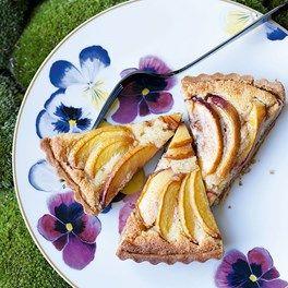 Nectarine & blackcurrant almond tart