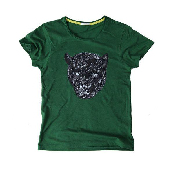 S~Lサイズカラー:グリーンコットン100%TcollectorのTシャツ。柔らかくて着心地の良いボディー。普通の豹よりもひょうひょうとした感じのする、かっこ...|ハンドメイド、手作り、手仕事品の通販・販売・購入ならCreema。