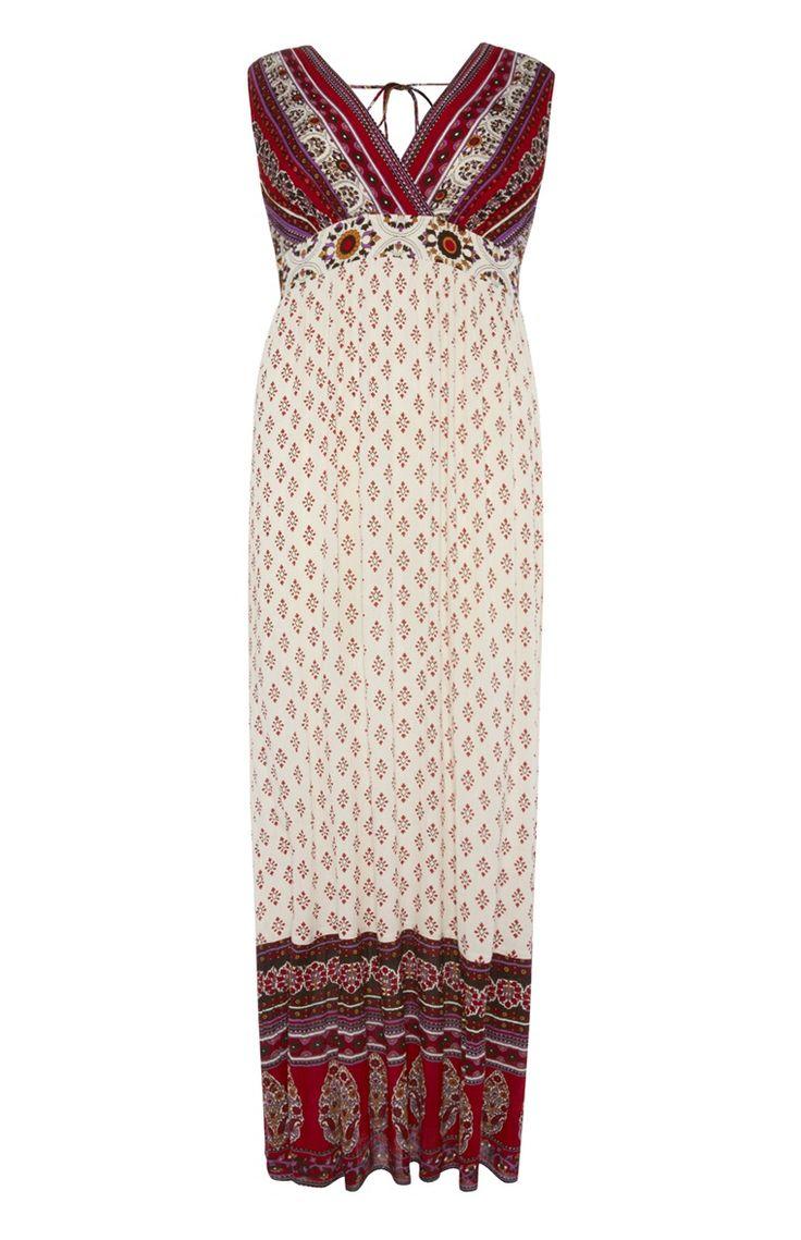 Primark - Rode maxi-jurk van kreukelstof met V-hals