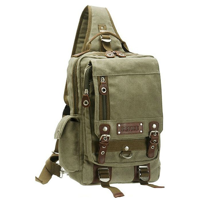 High-Quality Sporty-Style Canvas Leather Single-Shoulder Backpack 4 Colors