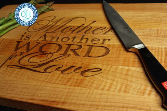 Mother Is Another Word for Love Cutting Board Mother's Day Birthday Gift Personalized by The Quintessential Hostess