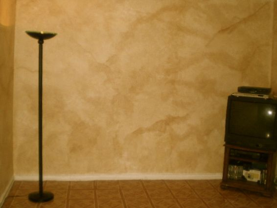 After picture of faux painted old world wall DIY