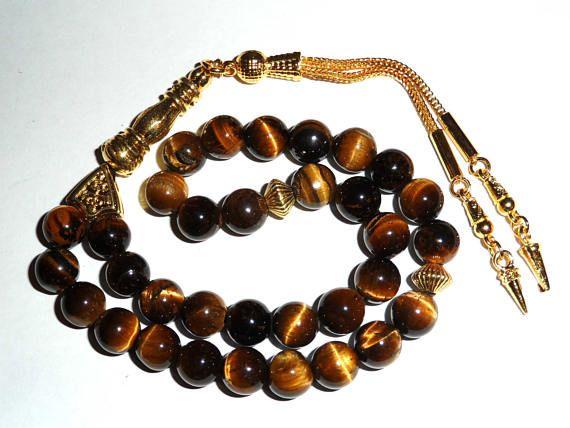 Rosary Islamic Prayer Beads Tiger Eye 33 Beads Tiger Eye