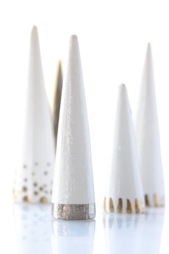 Moderne en céramique bague cône porte rangement organisation présentoir à bijoux : Blanc fond rayure en argent