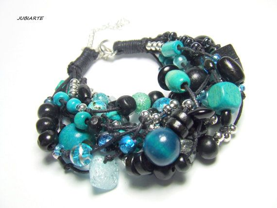 TURQUOISE CASCADE Multistrand Bracelet Braided by JUBIARTE on Etsy