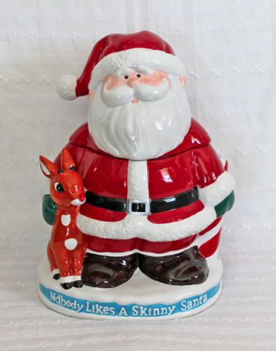 Enesco Rudolph & Island Misfit Toys Skinny Santa Cookie Jar