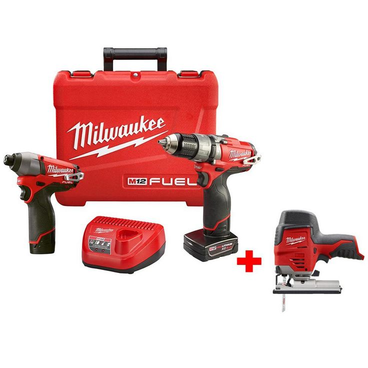 Milwaukee M12 Fuel 12-Volt Lithium-Ion Brushless 1/2 in. Hammer Drill/Impact Combo Kit with Free M12 Compact Jig Saw