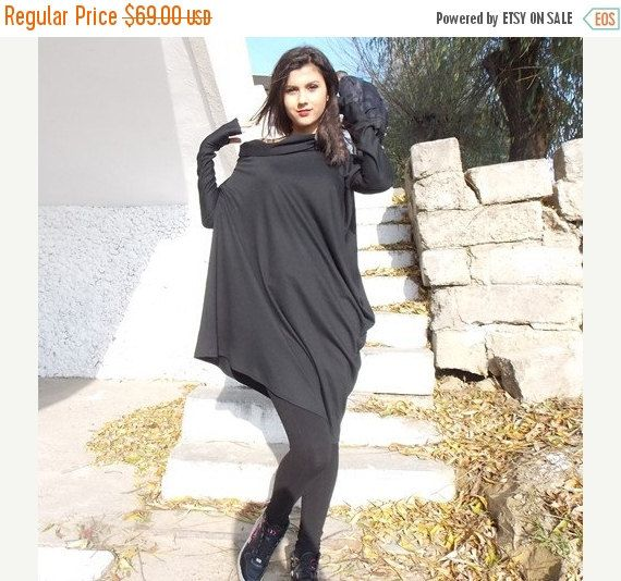 ON SALE 25% OFF Black Tunic / Oversize Black Loose Casual by Teyxo