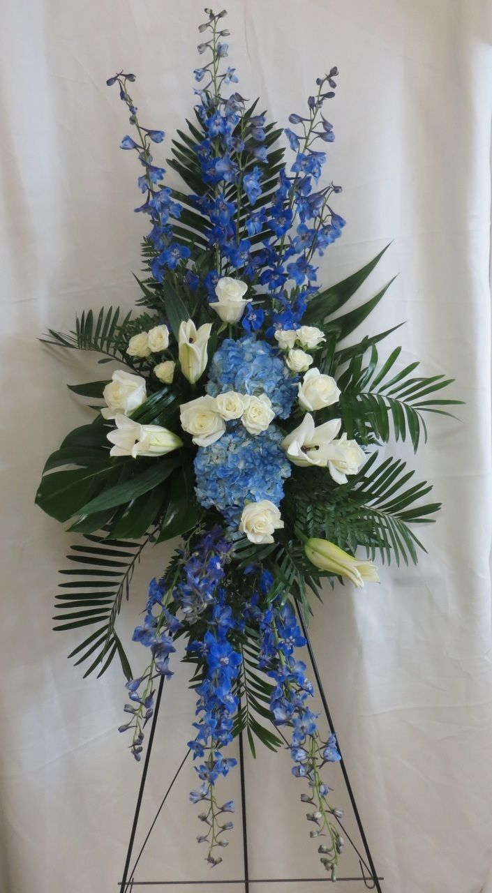Ocean Blue Funeral Flowers Spray Funeral Flowers Funeral Flower Arrangements Funeral Spray Flowers