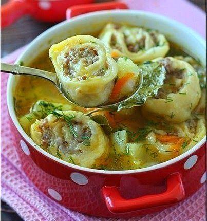 Картофельный суп с ленивыми пельменями