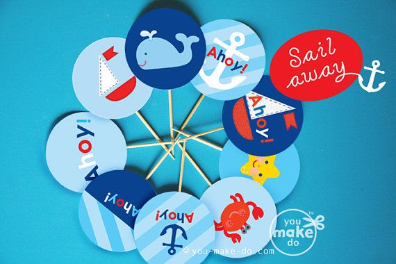 INSTANT DOWNLOAD NAUTICAL PARTY PRINTABLES!  Nautical party printables to make your own party circles for nautical cupcake toppers or nautical favor