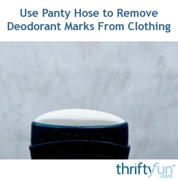 Rubbing the spot with a pair of panty hose can easily help remove deodorant stains and residue from clothing. This is a guide about use panty hose to remove deodorant marks from clothing.