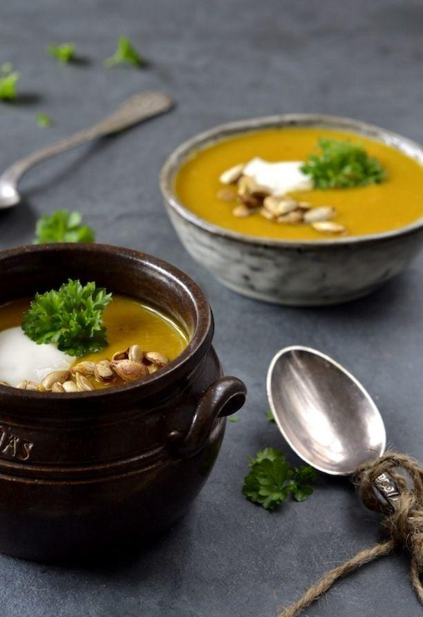 græskarsuppe butternut squash opskrift, græskarsuppe med karry