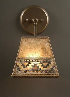 """Curved mica rustic sconce lights with hand-cut """"Pine Bough"""" design, adapted from Heintz Art Metal, by Sue Johnson"""
