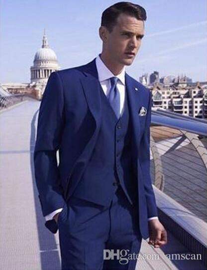 Best Selling Mens Wedding Suits Custom Made Slim Fit Wedding Groom Tuxedos For Men Groom Suits Groomsmen Bridegroom Suit Jacket+Vest+Pants Best Formal Suits Best Prom Suit From Amscan, $67.84| Dhgate.Com #menweddingsuits