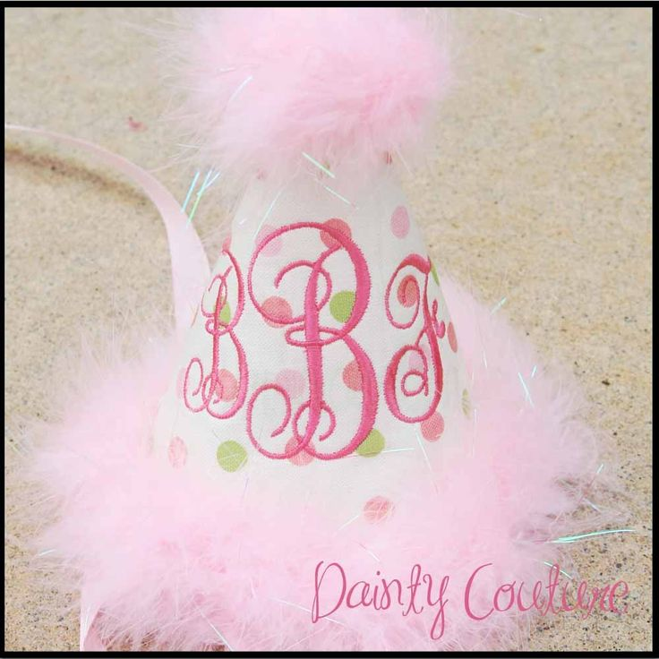 Girls First Birthday Party Hat Sassy pink and by daintycouture. $25.00 USD, via Etsy.