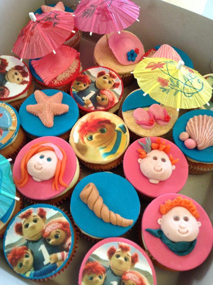 Zandkasteel cupcakes