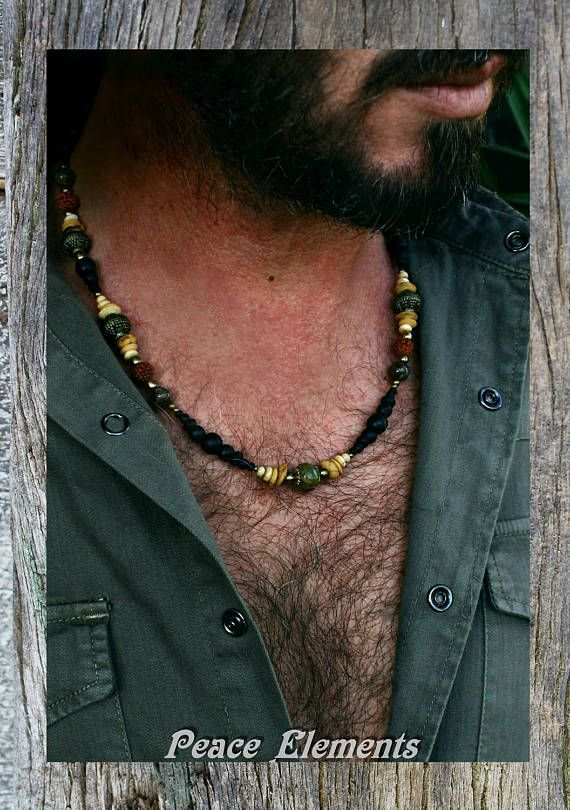 Bohemian mens Beaded necklace with Turquoise stone beads