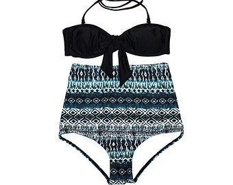 ¡VENTA! Estilo retro clásico Bandeau negro arco superior con estilo Vintage Bikini de talle alto en Print Tribal! ¡Pin-up traje de baño! ¡Sexy & Chic!