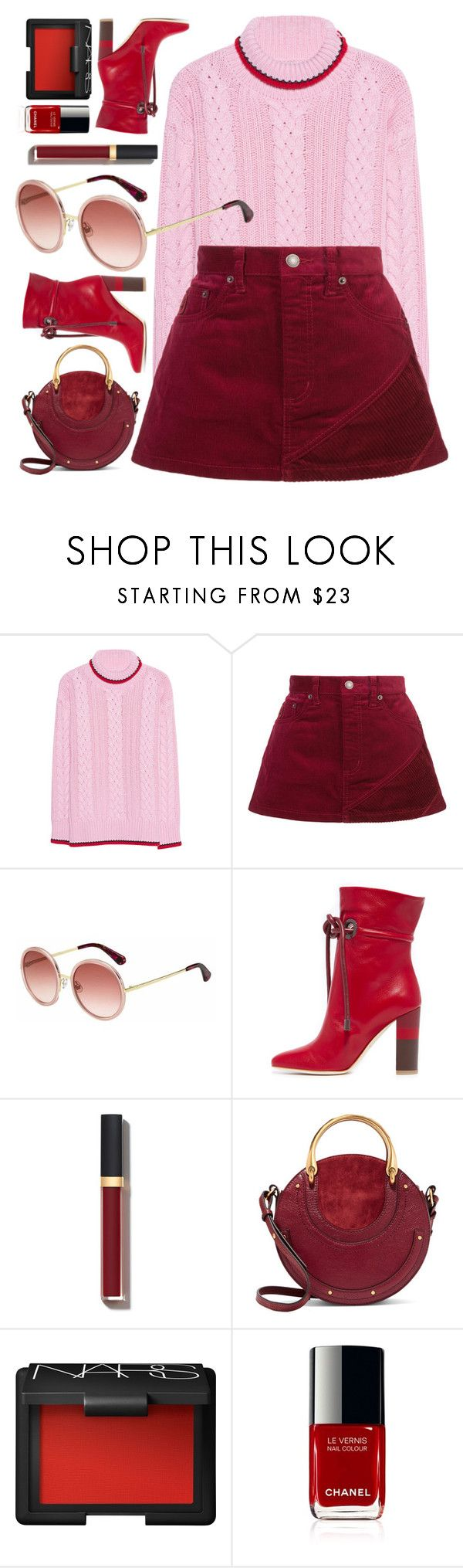 """Girly Look"" by smartbuyglasses-uk ❤ liked on Polyvore featuring Marc Jacobs, Kate Spade, Malone Souliers, Chanel, Chloé, NARS Cosmetics, Pink and red"