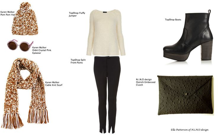 Winter Style featuring Karen Walker, TopShop and N.i.N.O design. A combination of cable knit, pom poms, fluffy knit and leather. Colours of caramel and cream, black and white, crystal pink and black.