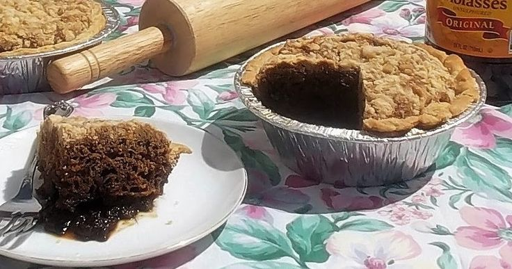 Shoofly Pie is a molasses cake baked in a pie crust with a crumb topping. It's gooey and sweet and you will have to shoo the flies away...