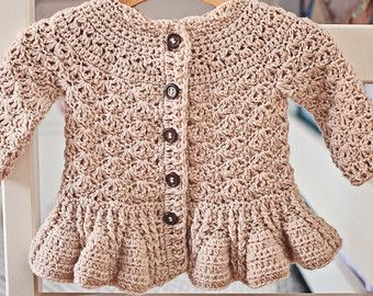 Crochet PATTERN Flutter Sleeve Shrug Cardigan by monpetitviolon