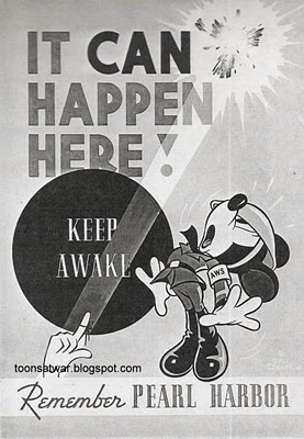 """KEEP AWAKE"", bombs happening here, Mickey mouse --- wow, that's so scary for the audience of Disney lovers... who are (of course) primarily children!  Disney Poster in WWII"