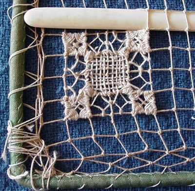 filet lace  - needleweaving in netting