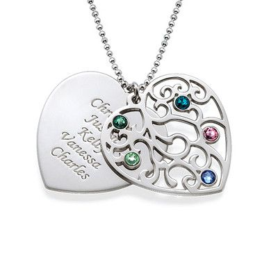 Grandma Family Tree Necklace with Birthstones | MyNameNecklace