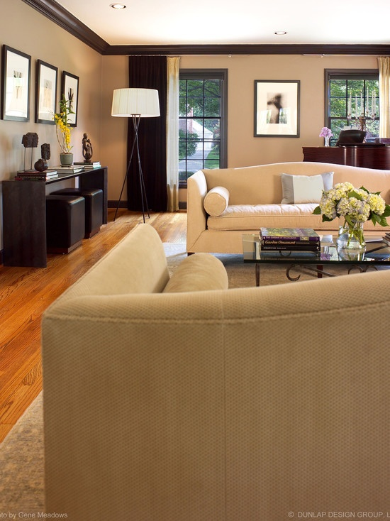 Living room brown trim beige walls and dark brown trim - Black brown and white living room ...