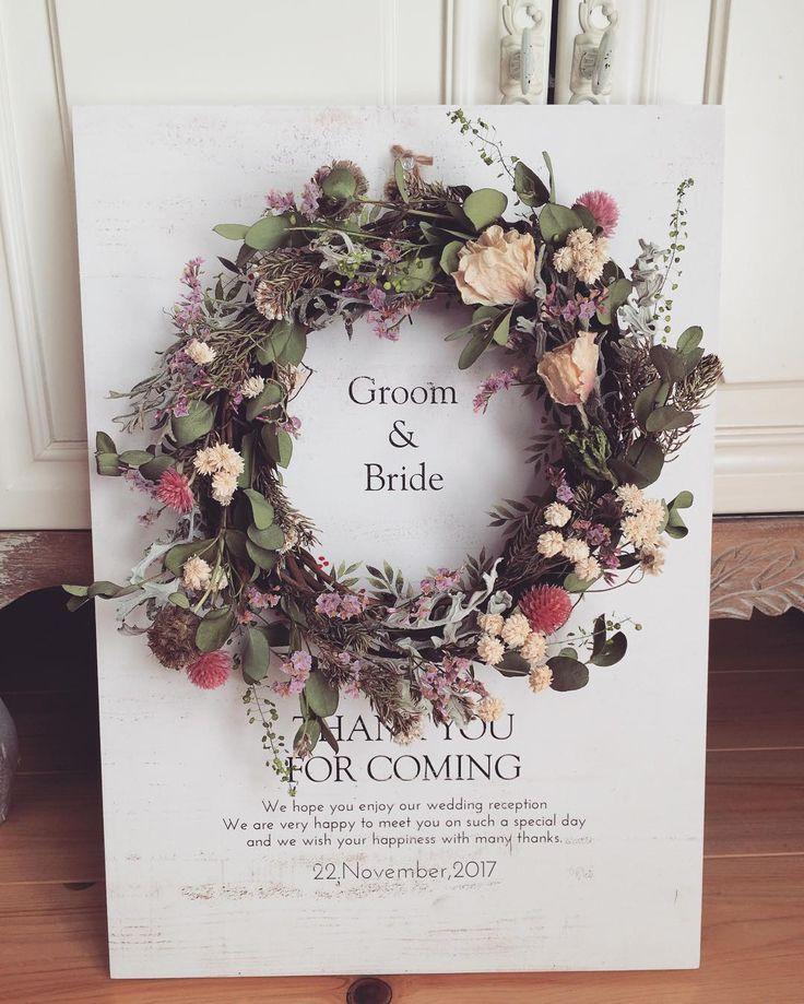 結婚式で飾りたいお洒落な「リースのウェルカムボード」特集 | marry[マリー]