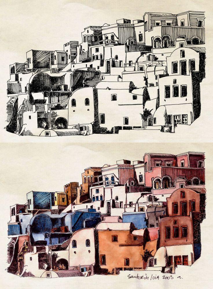 Santorin, Oia (encre et aquarelle) ©Antoine Digout