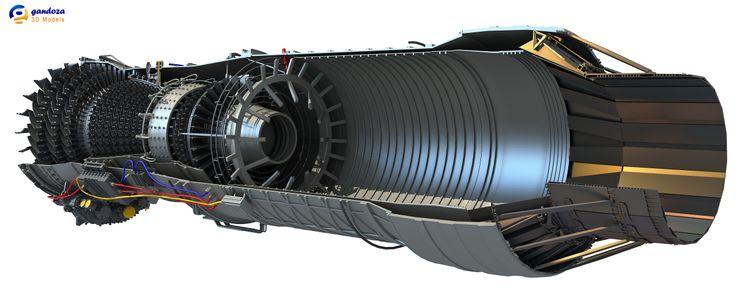 Aircraft Turbofan Engine Cutaway