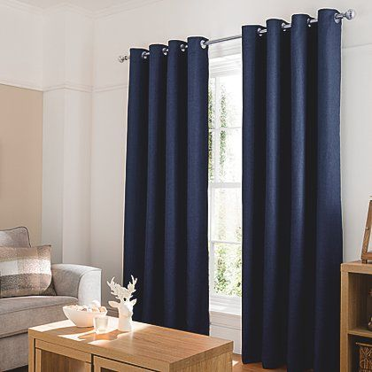 George Home Inky Blue Textured Weave Eyelet Curtains | Home U0026 Garden |  George At ASDA