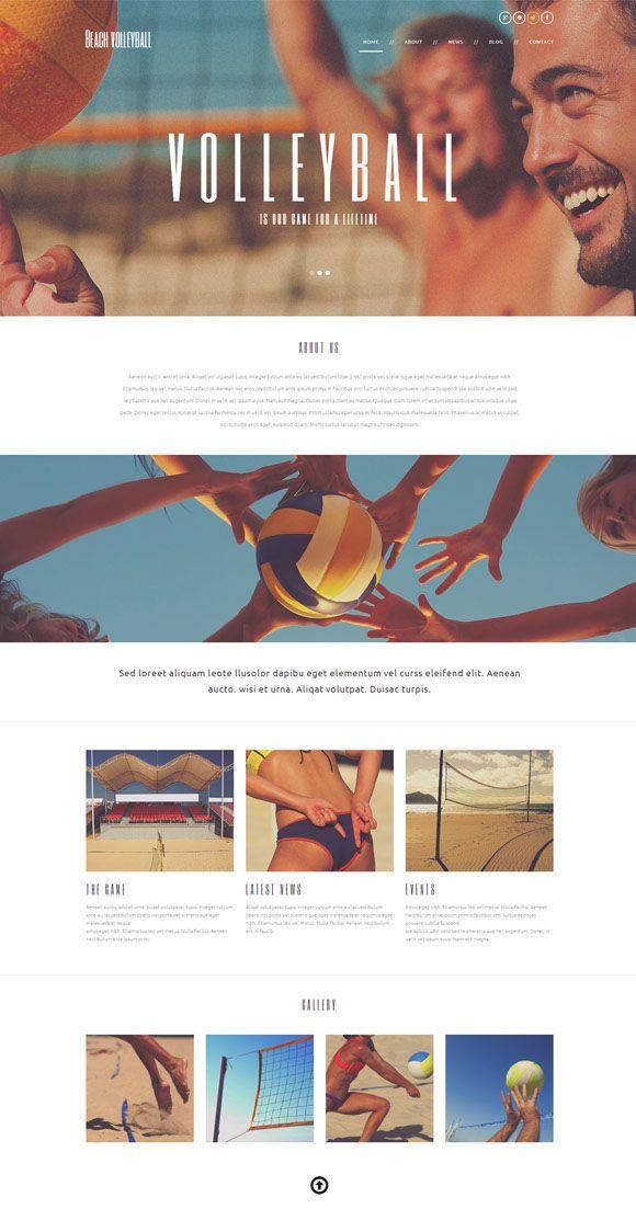 Beach Volleyball WordPress Template 49672 by Yajunesh MR, via Behance