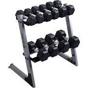 Costway 2 Tier 29'' Dumbbell Weight Storage Rack Home Stand Base + Multiple Weights Set, Silver