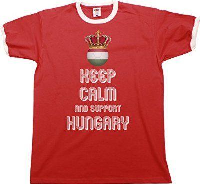 Mens Ringer T-Shirt KEEP CALM & Support HUNGARY Football Euro 2016