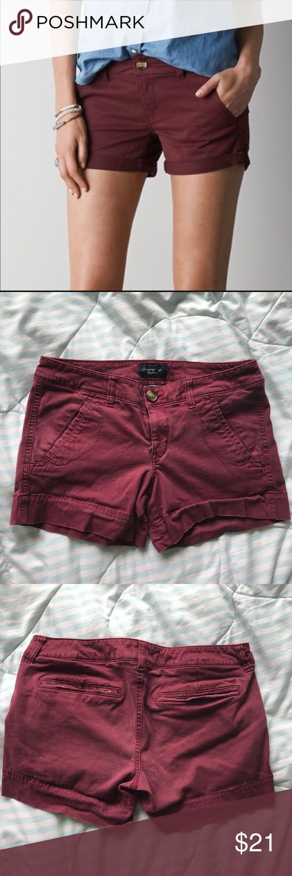 American Eagle Maroon Shortie Stretchy maroon shorts from American Eagle Outfitters! Comfortable and in great condition! Size 6   🌴ships from Hawaii🌴 • no trades • mannequin models only • make me an offer • save with bundles • feel free to ask me anything! American Eagle Outfitters Shorts