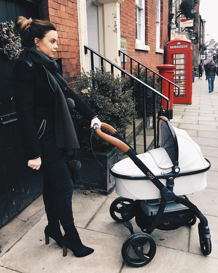 Maria Fowler.. Zara (2015) coat, JYY London scarf, Public Desire boots, and Egg Stroller UK pram..