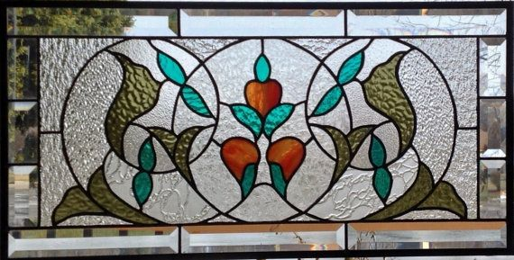 Large beveled Victorian stained glass window panel orange