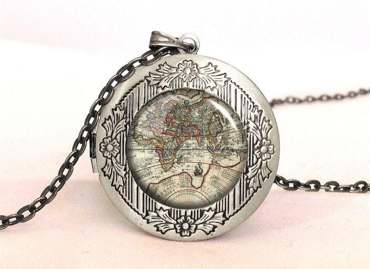 WORLD MAP Locket, 0197LPOS from EgginEgg by DaWanda.com