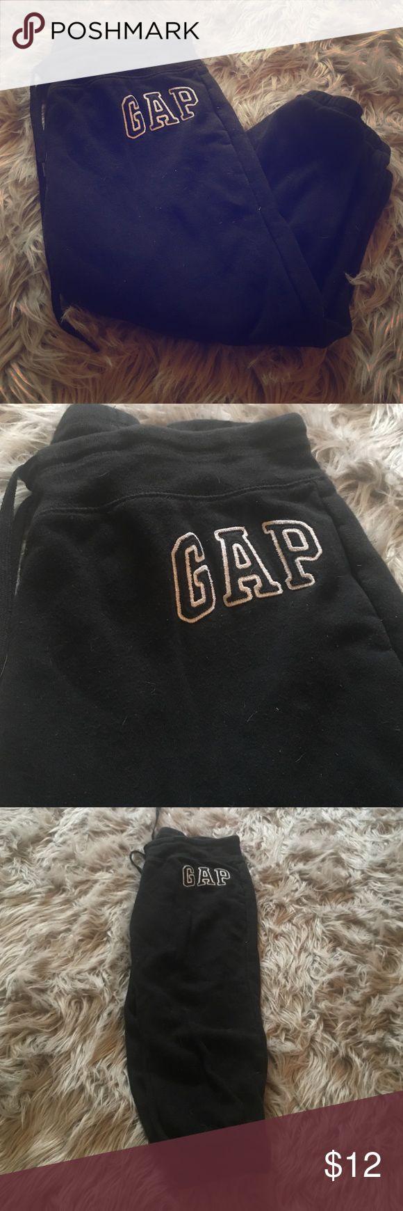 GAP women's small capri sweat pants Women's GAP size small black Capri sweat pants with white lettering. Gently worn and smoke free home. GAP Pants Capris