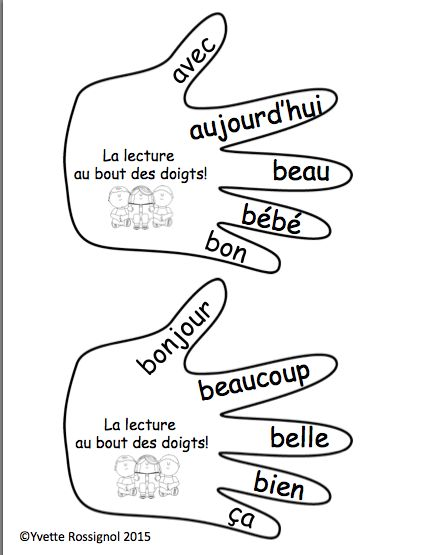 "Affichez ces 20 ""mains"" sur le mur de votre classe. 20 ""hands"" and activities to accompany these high frequency words. All ready to print! Students are excited to start practicing now so that they can sign the ""100th words poster"" on the 100th day"