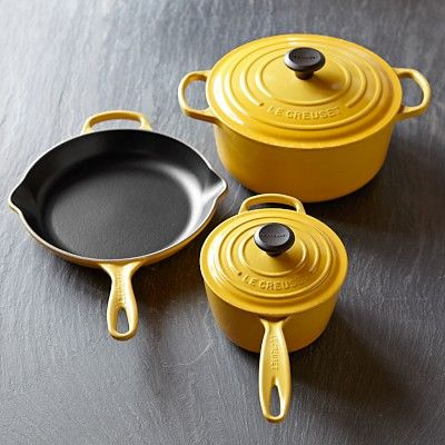 Le Creuset Signature 5-Piece Cookware Set #williamssonoma in Quince (yellow) or Marseille (blue).