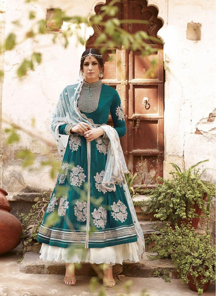 Best Cream and Teal Lace Anarkali Salwar Kameez